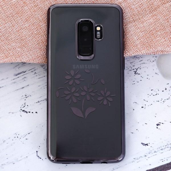 Ốp lưng Galaxy S9 Plus Nhựa dẻo in hình Electroplating Đen Hoa I