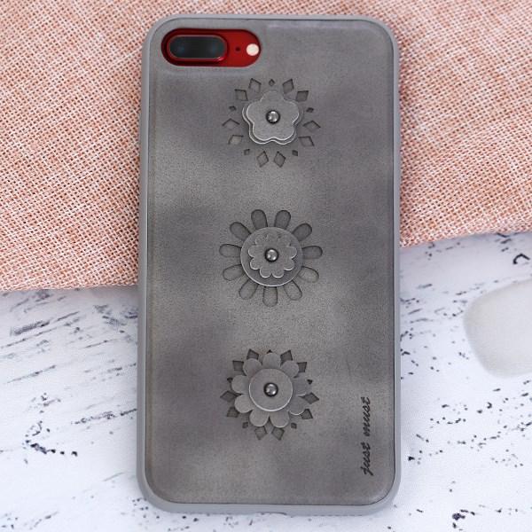 Ốp lưng iPhone 7 Plus - 8 Plus Nhựa dẻo PU Burch JM Hoa văn Xám