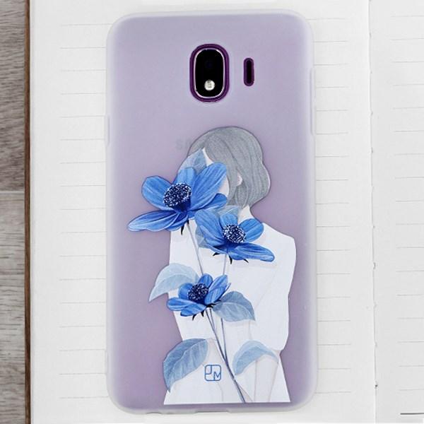 Ốp lưng Galaxy J4 Nhựa dẻo in hình Solid printing II JM Hoa xanh