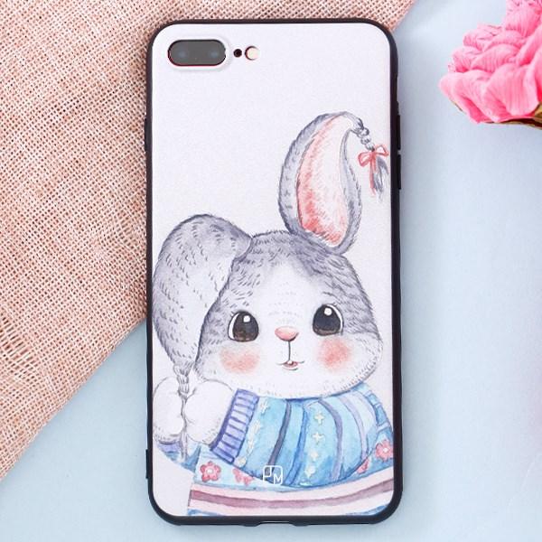 Ốp lưng iPhone 7 Plus - 8 Plus Nhựa dẻo Solid in hình II thỏ áo xanh