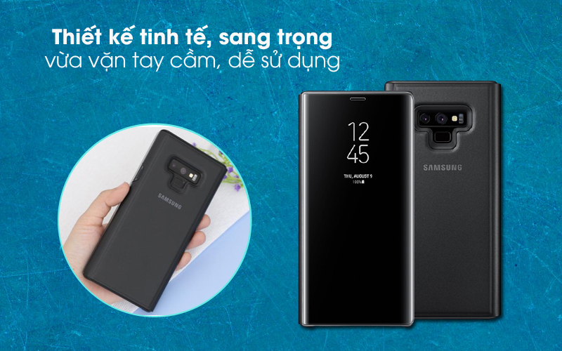 Sang đẹp - Bao da Samsung Galaxy Note 9 Nắp gập Clear View Đen