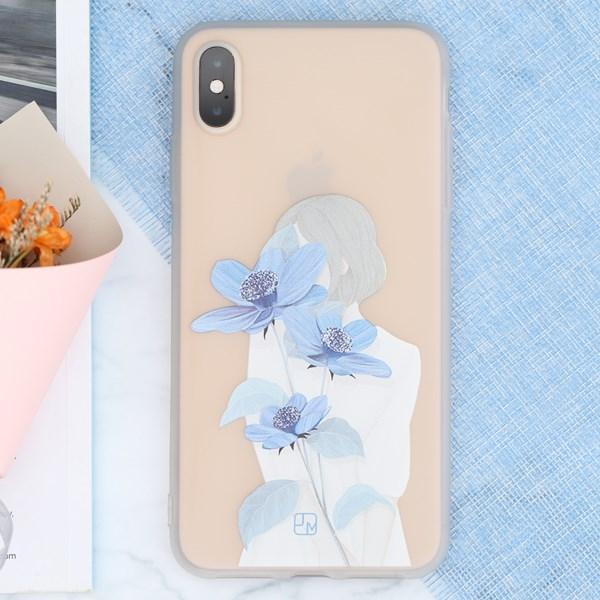 Ốp lưng iPhone XS Max Nhựa dẻo Solid in hình JM JM080104 Hoa xanh