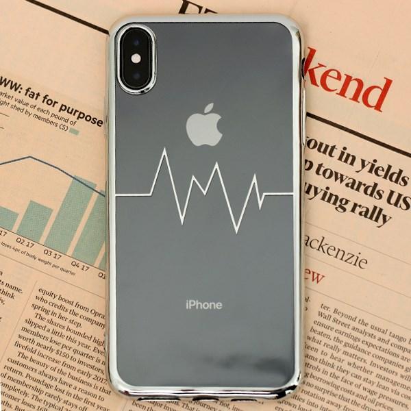 Ốp lưng iPhone XS Max Nhựa dẻo Electroplating nhịp tim COSANO bạc