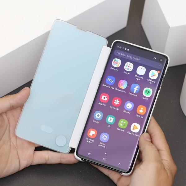 Ốp lưng Galaxy S10 nắp gặp ClearView Samsung Trắng