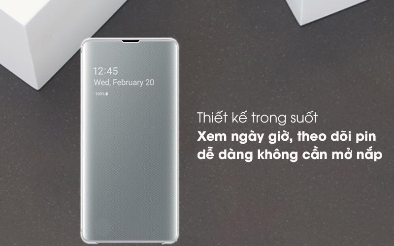 Bao da Samsung Galaxy S10+ Nắp gập Clear View Trắng - Xem ngày giờ