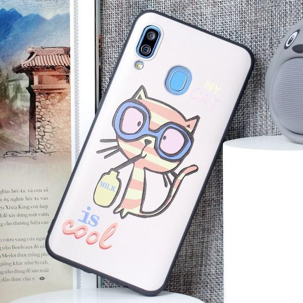 Ốp lưng Galaxy A30 Nhựa dẻo Solid Printing MEEKER TKS110 Mèo Hồng