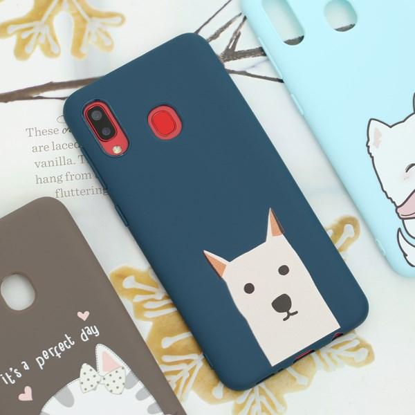 Ốp lưng Galaxy A20 nhựa dẻo in nổi emboss printing OSMIA MWGCK004 Chó dễ thương