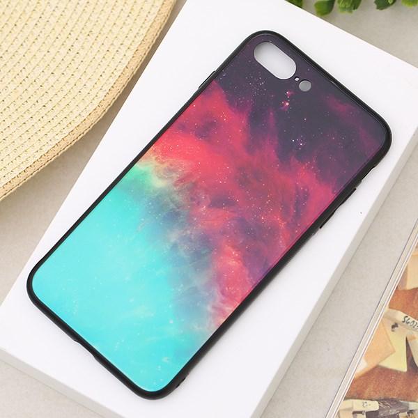 Ốp lưng iPhone 7/8+ Nhựa cứng viền dẻo Tempered glass OSMIA CKTG555 Thiên hà