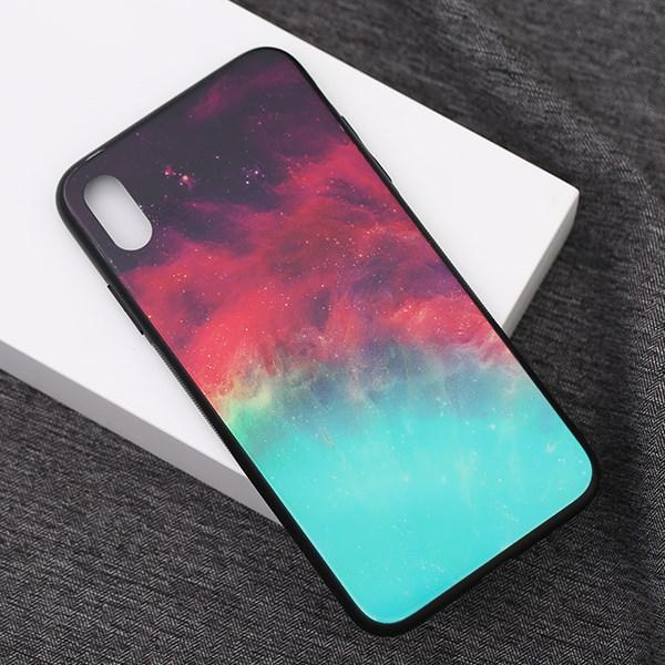 Ốp lưng iPhone Xs Max Nhựa cứng viền dẻo Tempered glass OSMIA CKTG555 Thiên hà