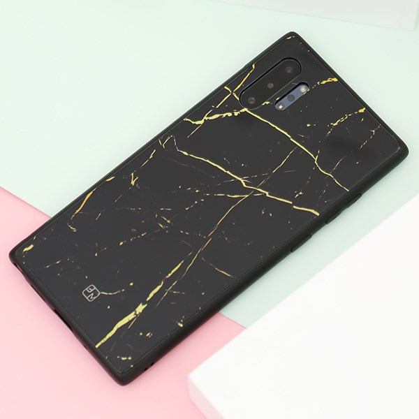 Ốp lưng Galaxy Note 10 Plus nhựa cứng viền dẻo Glass Print V JM vàng đen