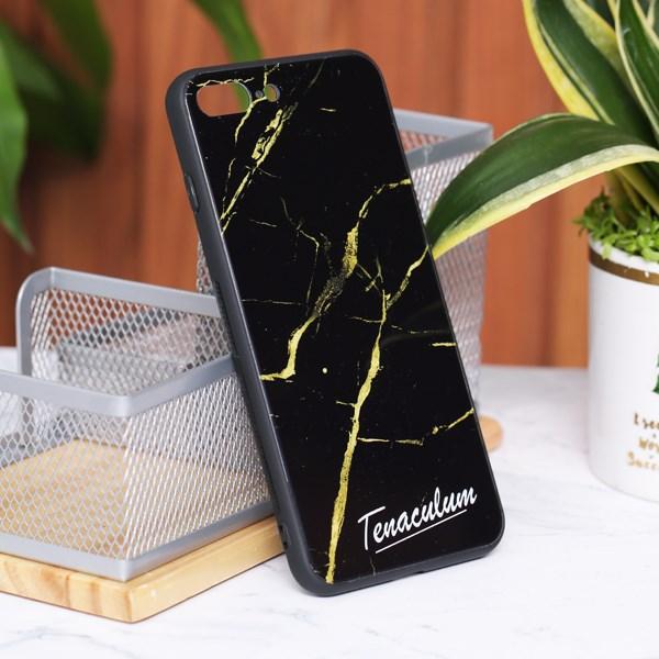 Ốp lưng iPhone 7/8+ cứng viền dẻo Tempered Glass COSANO SRM513 Vân Đen