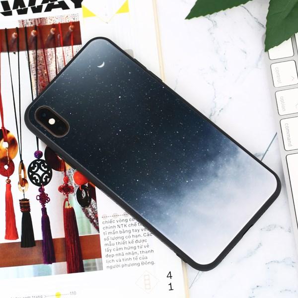 Ốp iPhone XS Max cứng viền dẻo Tempered Glass COSANO SRM511 Trắng Đen