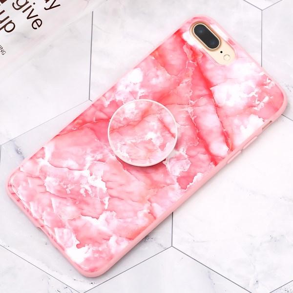 Ốp lưng iPhone 7/8+ Nhựa dẻo POPPY JM Vân đá hồng