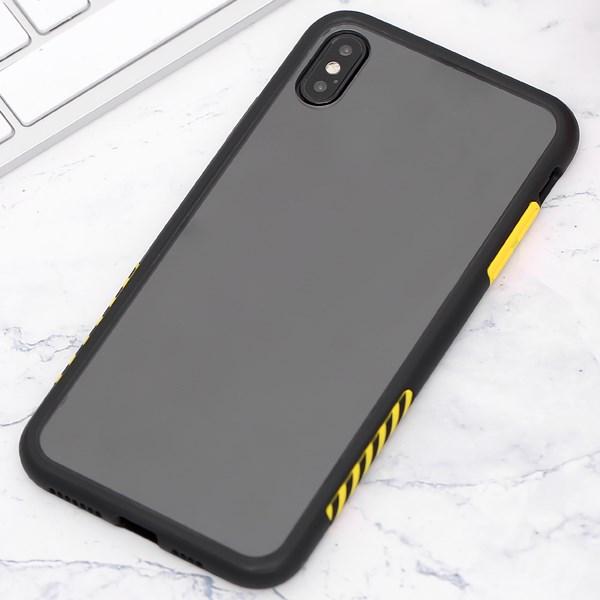 Ốp lưng iPhone XS Max Nhựa cứng viền dẻo Durame JM Viền đen vàng
