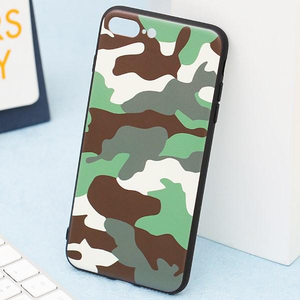 Ốp lưng iPhone 7/8+ viền dẻo TPU+PC UV CKTG330 Vân lính Xanh