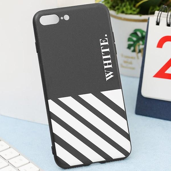 Ốp lưng iPhone 7/8+ nhựa cứng viền dẻo TPU+PC UV CKTG420 Sọc trắng Đen