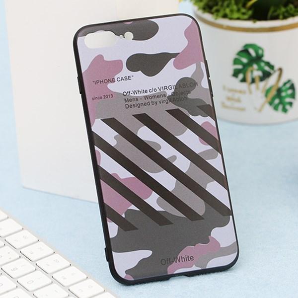 Ốp lưng iPhone 7/8+ nhựa cứng viền dẻo TPU+PC UV Vân lính sọc Xám