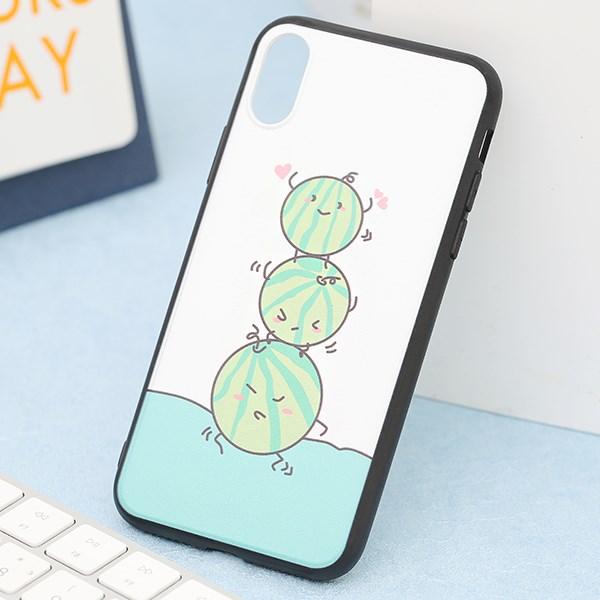 Ốp iPhone X/Xs nhựa cứng viền dẻo TPU+PC UV CKTG574 Dưa hấu Nude