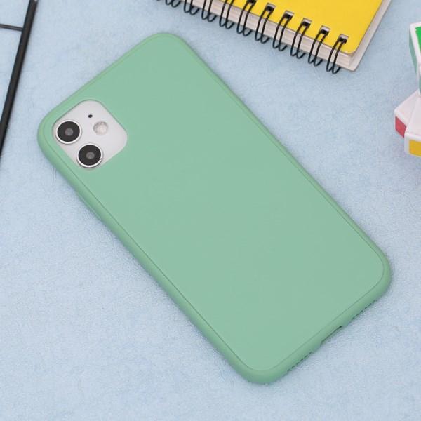 Ốp lưng iPhone 11 nhựa cứng viền dẻo Tempered Glass silk OSMIA Bạc Hà