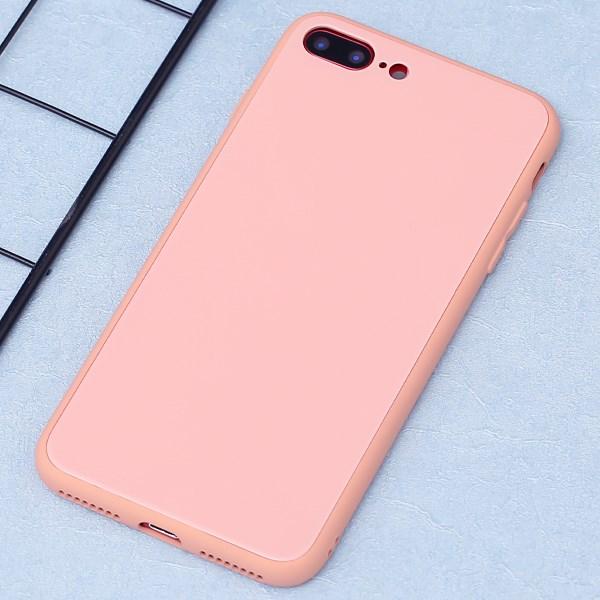 Ốp lưng iPhone 7 Plus/ 8 Plus nhựa cứng viền dẻo Tempered Glass silk OSMIA Hồng