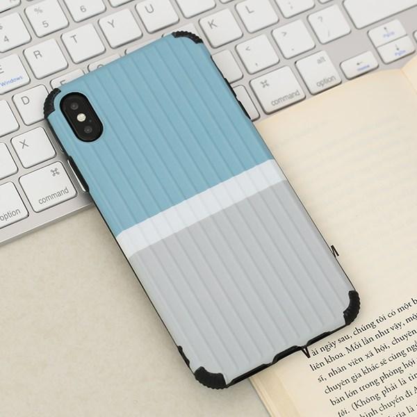Ốp lưng iPhone Xs Max nhựa dẻo Luggage IMD New OSMIA Xám Xanh