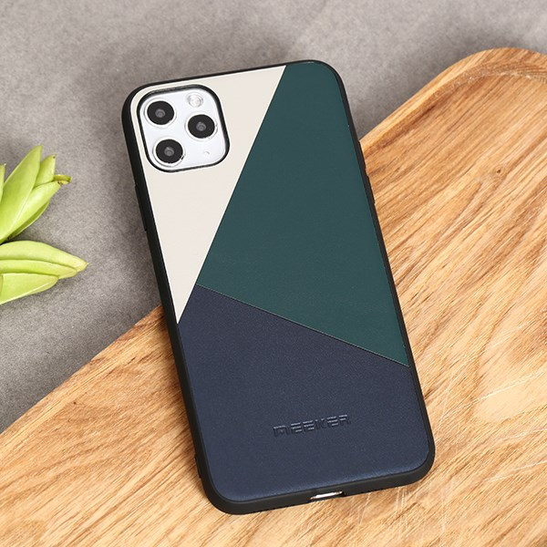 Ốp lưng iPhone 11 Pro Max Nhựa cứng viền dẻo Mixed color leather case MEEKER Xanh