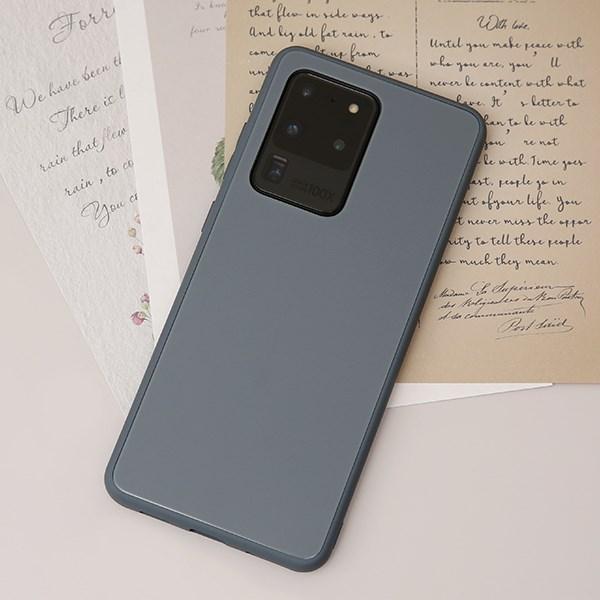 Ốp lưng Galaxy S20 Ultra nhựa cứng viền dẻo Tempered Glass Silk OSMIA Xám