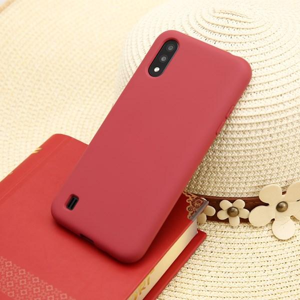 Ốp lưng Galaxy A01 nhựa dẻo Silicone Felt Cover COSANO Đỏ đô