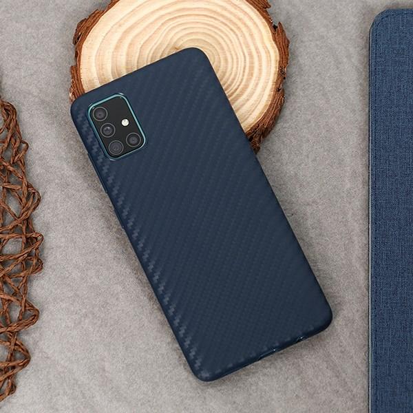Ốp lưng Galaxy A51/A31 nhựa dẻo Carbon Fibre TPU COSANO Xanh đậm
