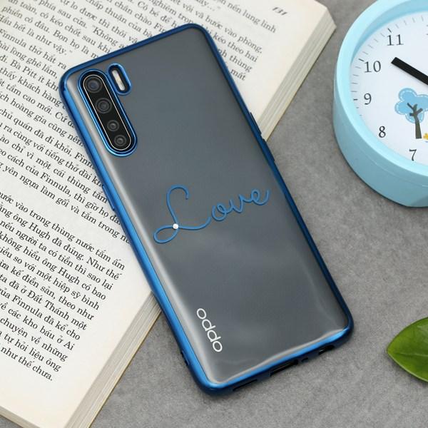 Ốp lưng Oppo A91 nhựa dẻo Crystal TPU Electroplating Love COSANO Xanh