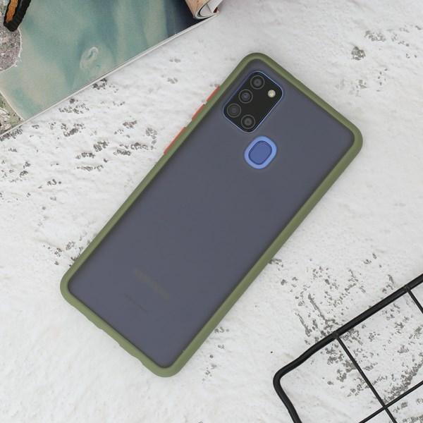 Ốp lưng Galaxy A21s nhựa cứng viền dẻo PIN GE -20s OSMIA Xanh đậm
