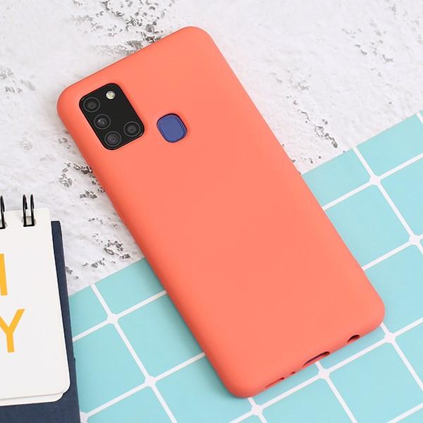 Ốp lưng Galaxy A21s Nhựa dẻo Artifical silicon MEEKER Hồng mẫu đơn