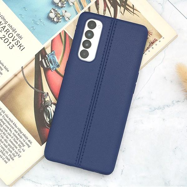 Ốp lưng Oppo Reno4 Pro nhựa dẻo Double line OSMIA Xanh Đậm