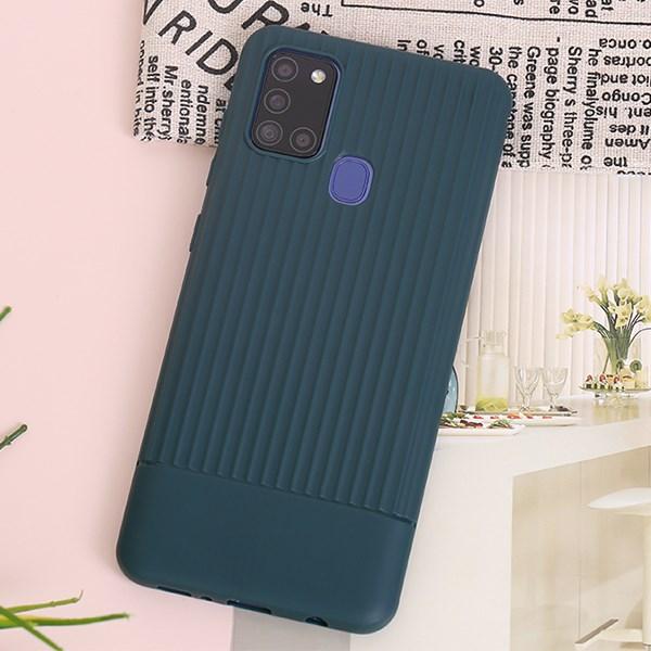 Ốp lưng Galaxy A21s nhựa dẻo Mix strip OSMIA Xanh Teal