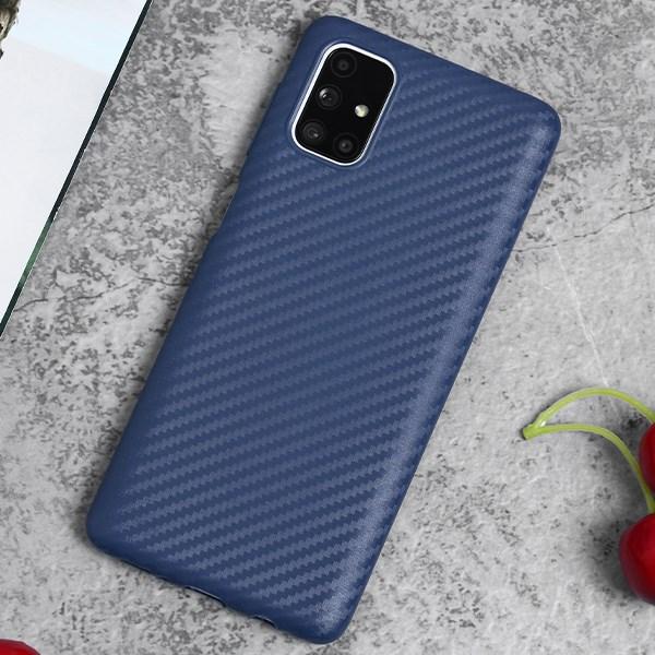 Ốp lưng Galaxy M51 Nhựa dẻo Carbon Fibre TPU COSANO Navy