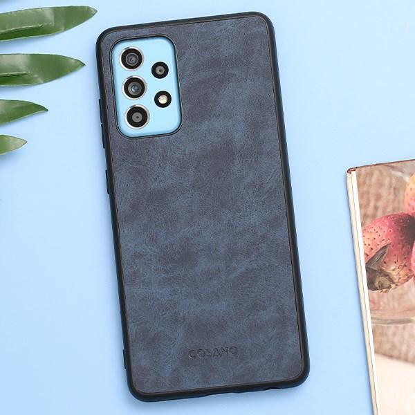 Ốp lưng Galaxy A52 Nhựa dẻo Tex PU Case COSANO Xanh Đậm