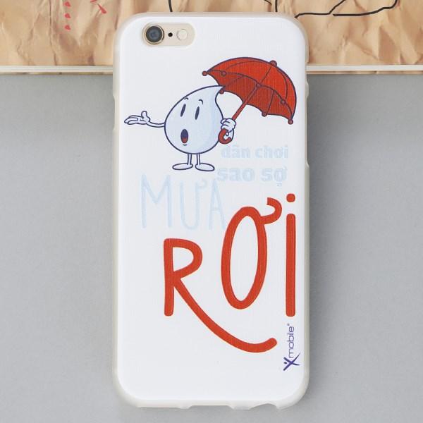 Ốp lưng iPhone 6 - 6s Nhựa in mờ Mưa rơi Xanh