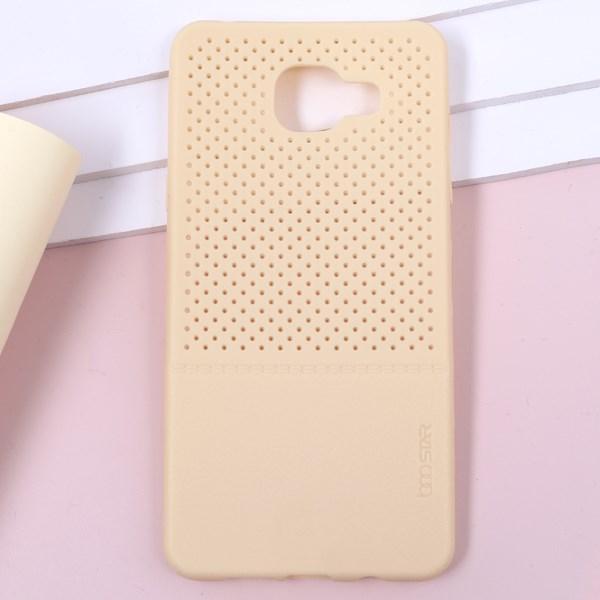 Ốp lưng Galaxy A5 (2016) Nhựa lỗ vân da Gold