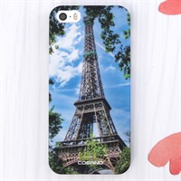 Ốp lưng iPhone SE Nhựa cứng in solid COSANO Eiffel Xanh