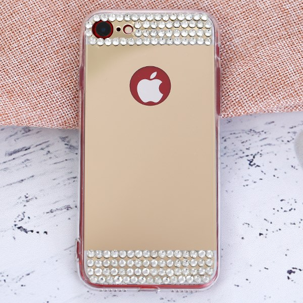 Ốp lưng iPhone 7 - iPhone 8 Nhựa cứng viền dẻo Mirror VI JM Vàng đồng