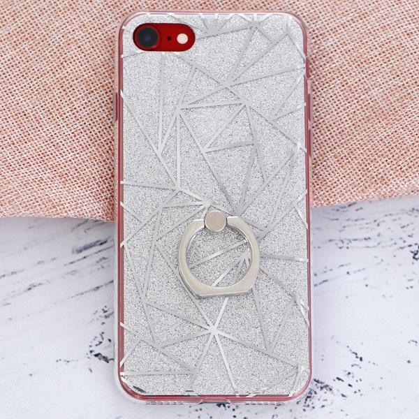 Ốp lưng iPhone 7 - iPhone 8 Nhựa cứng viền dẻo đính nhẫn COSANO Vân Bạc