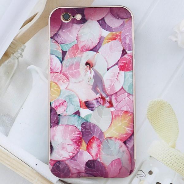 Ốp lưng iPhone 6-6S Viền nhôm lưng in hình COSANO Lá Hồng