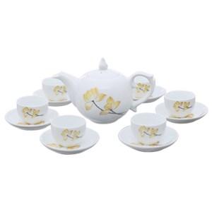 Bộ bình trà UNC Việt Nam hoa sen vàng 13 món FTS06