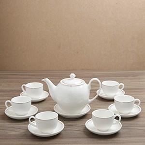 Bộ ấm trà sứ Minh Châu viền vàng thật 12k MC-BAT02 14 món
