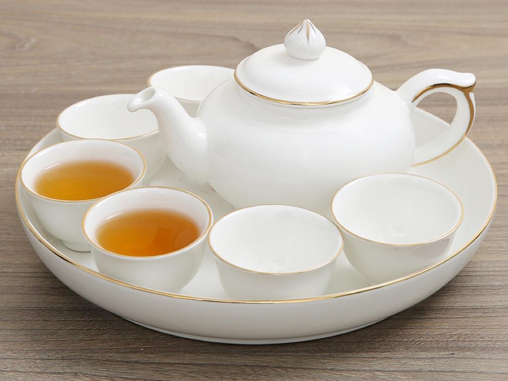 Bộ ấm trà sứ Minh Châu viền vàng MC-BAT05 8 món 1