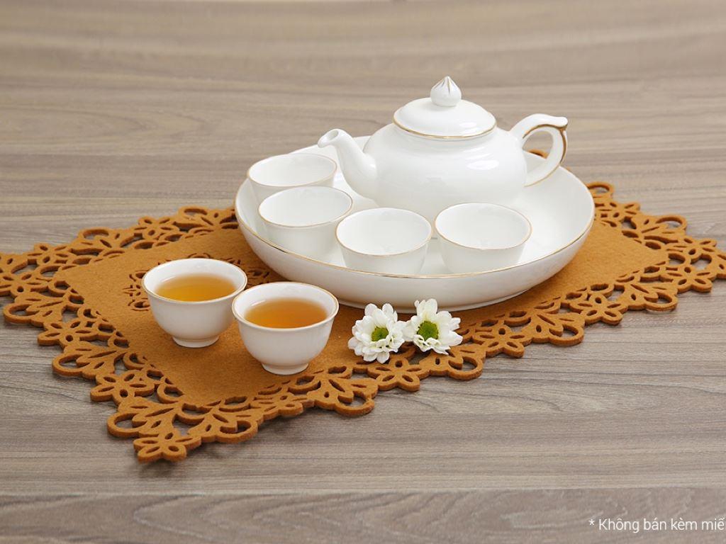 Bộ ấm trà sứ Minh Châu viền vàng MC-BAT05 8 món 2