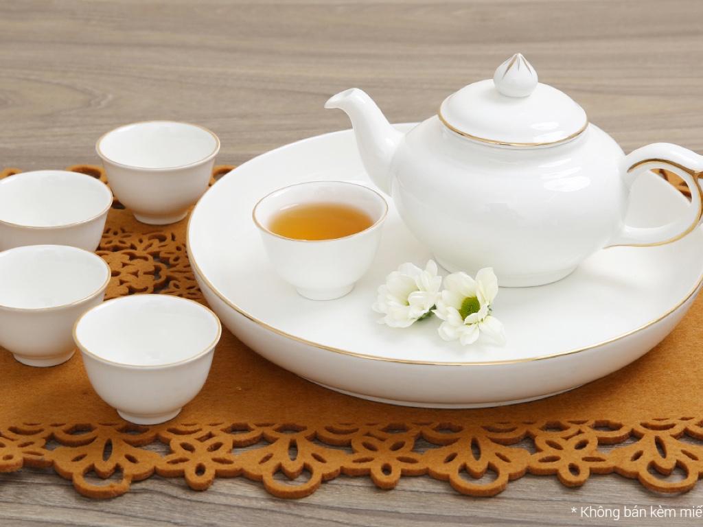 Bộ ấm trà sứ Minh Châu viền vàng MC-BAT05 8 món 4