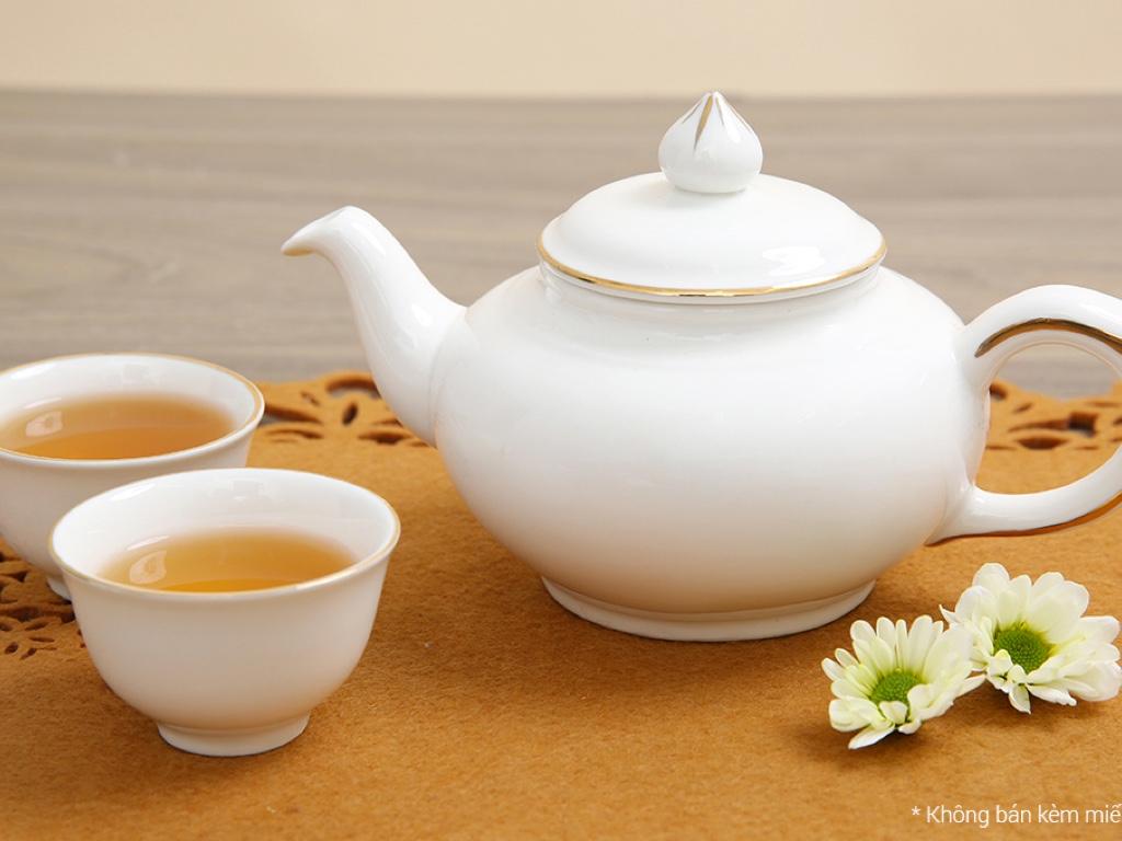 Bộ ấm trà sứ Minh Châu viền vàng MC-BAT05 8 món 6