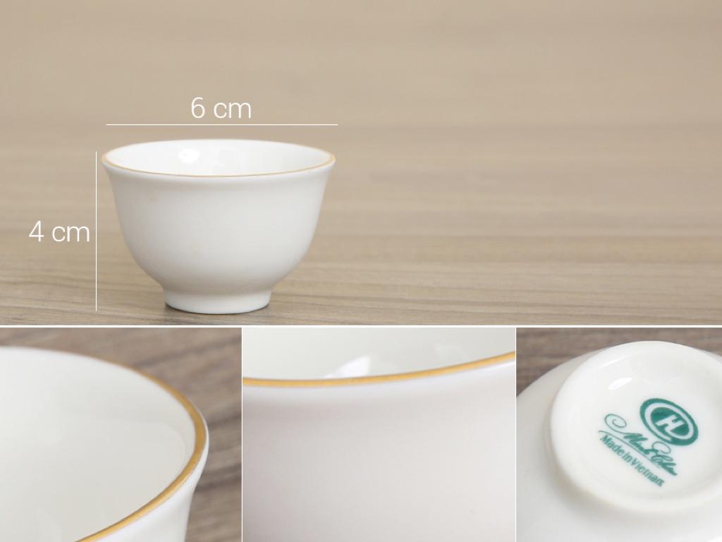 Bộ ấm trà sứ Minh Châu viền vàng MC-BAT05 8 món 8