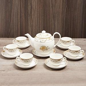 Bộ ấm trà sứ Minh Châu ngựa vàng MC-BAT01 14 món